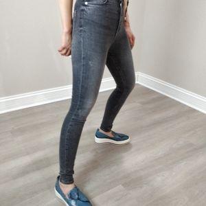 Zara high rise super skinny stretchy washed jeans